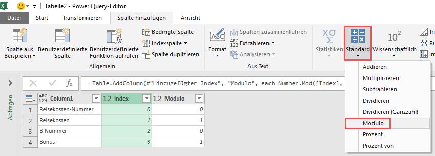 Erzeugen einer Modulo-Spalte über die Nutzeroberfläche, Power Query, Power BI