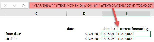 Convert a common date format to the required syntax for CUBE formulas, Power BI