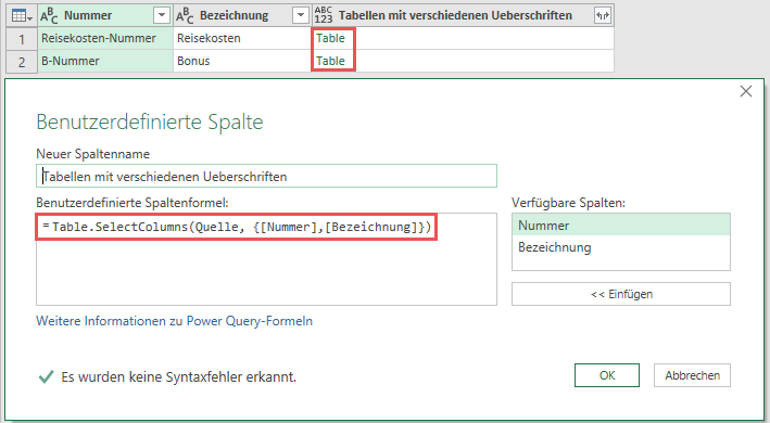Zeilenweise Spalten aus der Datenbasis (Quelle) selektieren, Power Query, Power BI Desktop