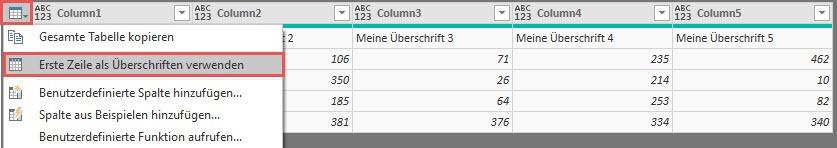 So wird aus der kombinierten Zeile die Spaltenüberschrift, Power Query, Power BI Desktop
