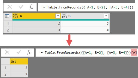Creating a list, by referencing a column in a table, Power Query, Power BI Desktop