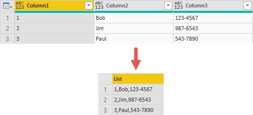 Example of Table.ToList(), Power Query, Power BI
