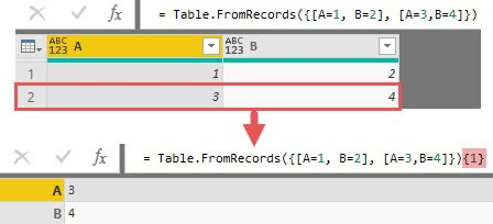 Referencing a row in a table creates a record, Power Query, Power BI
