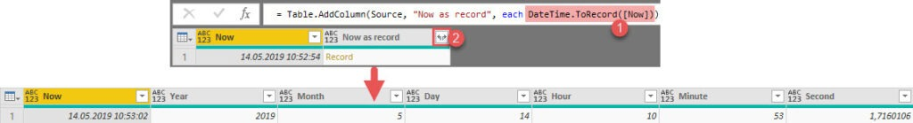 DateTime.ToRecord() in a calculated column leads to 6 new columns after its expansion, Power Query, Power BI