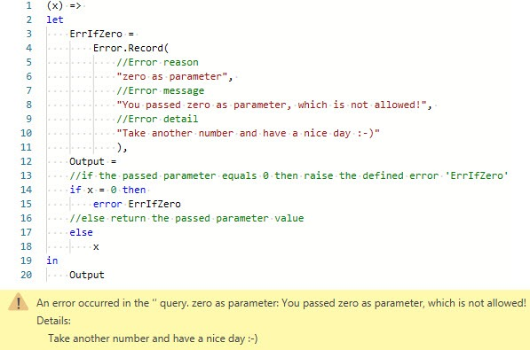Raising an error, even though M could evaluate the expression, Power Query, Power BI