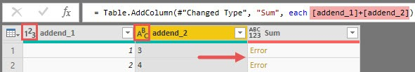 Summing up numeric and text values isn't possible, Power Query, Power BI