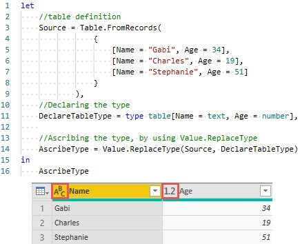 Using Value.ReplaceType() to change to ascribe a type to a table, Power Query, Power BI