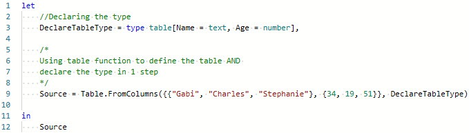 Using Table.FromColumns() function, to ascribe type to table, Power Query, Power BI