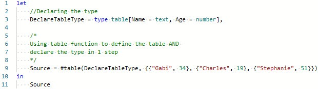 Using #table() function, to ascribe type to table, Power Query, Power BI