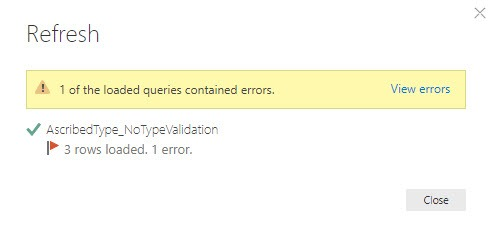 Error message occurs, Power Query, Power BI