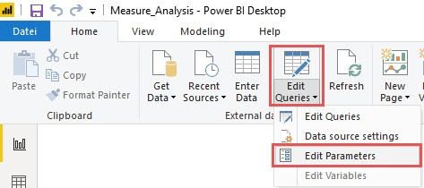 Edit parameters, Power BI Desktop