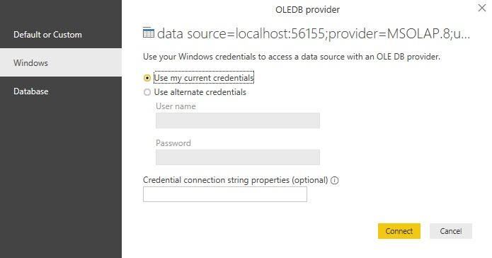 Use Windows credentials to connect to the instance of Analysis Services, Power BI Desktop