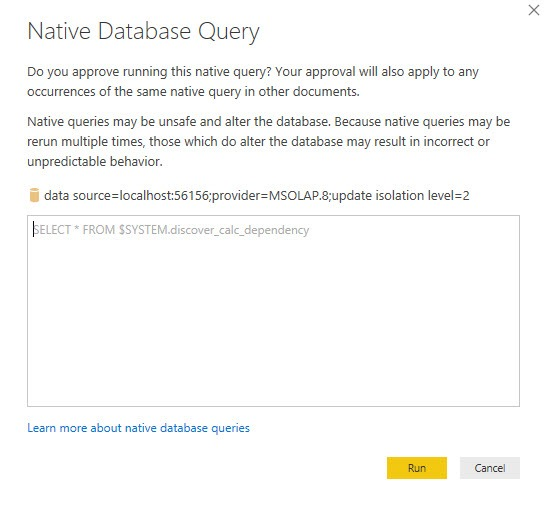 Run DMV dicover_calc_dependency, Power BI Desktop