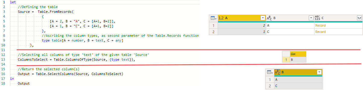 Using Table.ColumnsOfTypes to select columns of type text from a table with ascribed types, Power Query, Power BI