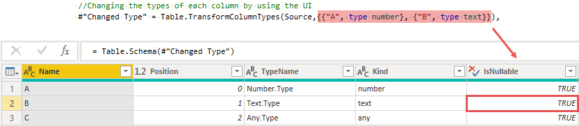 Table.Schema() for the not working solution, Power Query, Power BI