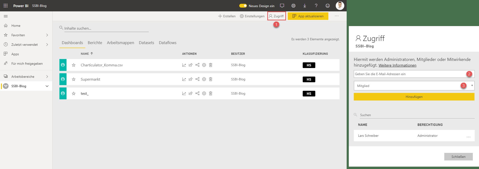 Nutzer für den Workspace berechtigen, Power BI service