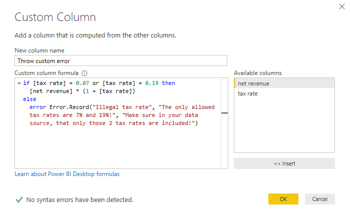 Throwing a custom error by writing the Error.Record manually, Power Query, Power BI Desktop