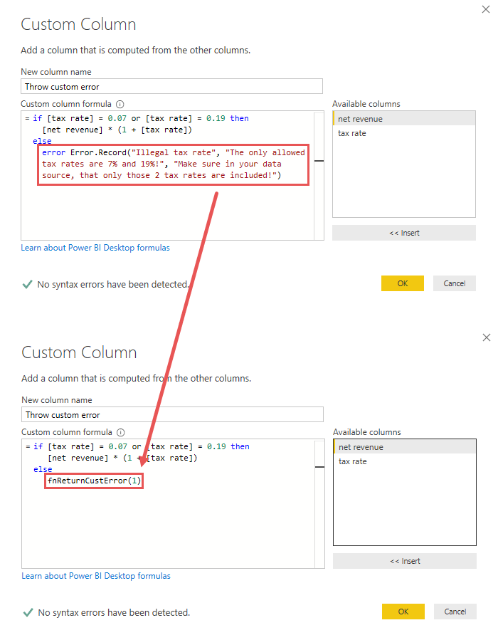 Throwing a custom error by calling a custom function and the passed custom error ID, Power Query, Power BI Desktop