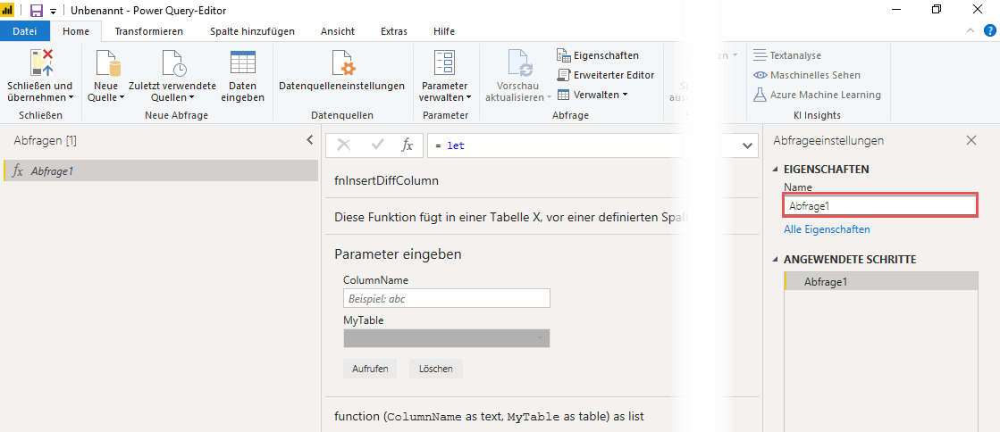Den Namen der M-Funktion festlegen, Power Query, Power BI Desktop