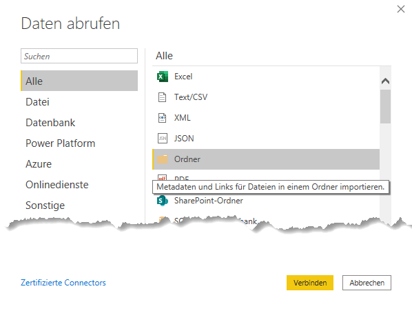 "Auswahl des Datenquellentyps ""Ordner"", Power Query, Excel, Power BI Desktop"