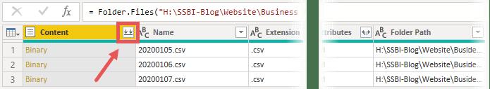 """""""Daten kombinieren"""" extrahiert die Daten aus der Content-Spalte und kombiniert diese miteinander, Power Query, Power BI Desktop"""