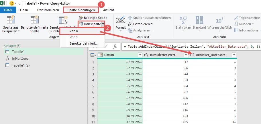 Hinzufügen der Index-Spalte für den aktuellen Datensatz, Power Query, Power BI
