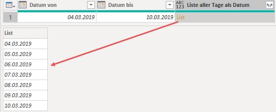 Liste aller Tage zwischen Datum von und Datum bis, Power Query, Power BI Desktop