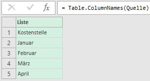 Alle Spaltenbezeichnungen der Quelltabelle ermitteln, Power Query, Excel, Power BI Desktop
