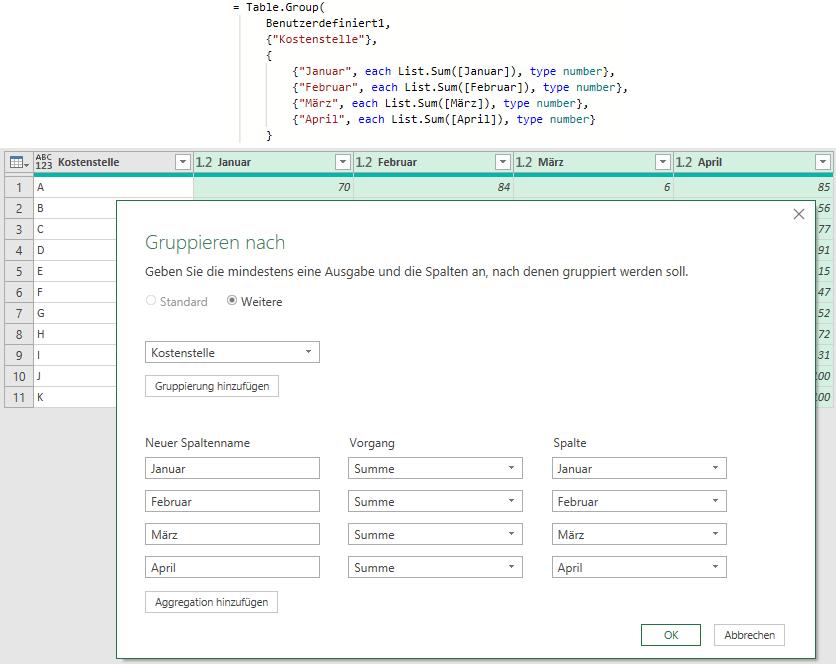 Eine andere Lösungsidee: Spaltensummen über Gruppierung, Power Query, Excel, Power BI Desktop