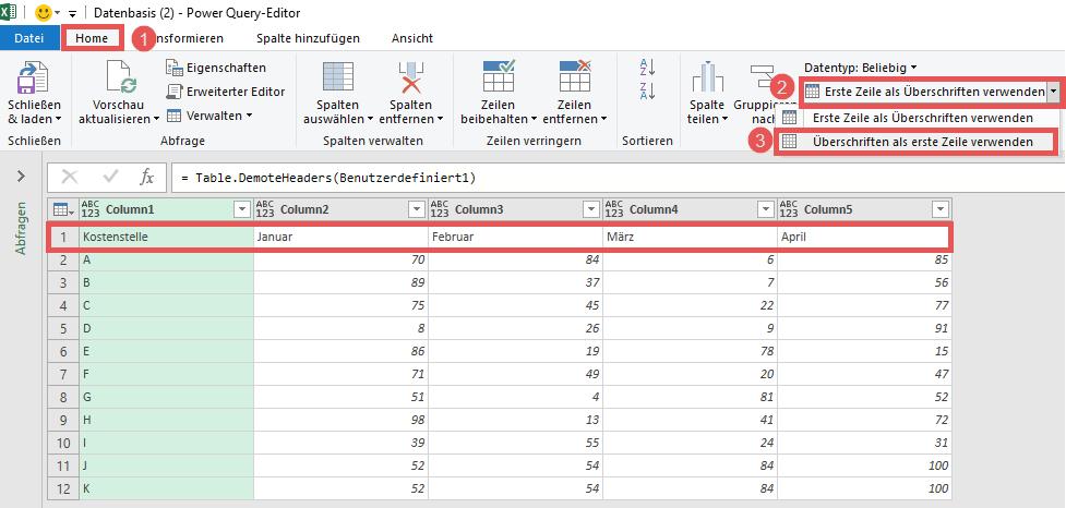 Spaltenüberschriften zurücksetzen, um das Transponieren vorzubereiten, Power Query, Excel, Power BI Desktop
