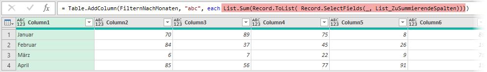 Summenbildung über eine sich ändernde Anzahl von Monatsspalten, Power Query, Excel, Power BI Desktop