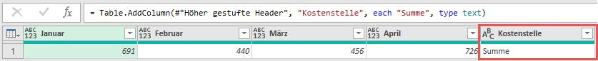 """Hinzufügen der Zeilenbeschriftung """"Summe"""" für die Zieltabelle, Power Query, Excel, Power BI Desktop"""