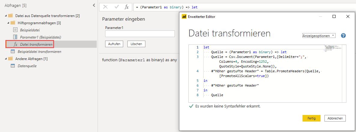 Diese Funktion definiert den Import aller im Ordner befindlichen Dateien, Power Query, Excel, Power BI Desktop