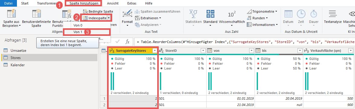 Hinzufügen einer Indexspalte als SurrogateKey, Power BI, Power Query