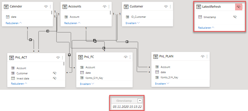 Latest model refresh as disconnected single-row/ single-column table in the data model, Power BI