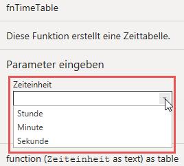 Funktionsparameter: Wähle die gewünschte Zeiteinheit (Stunde, Minute, Sekunde), Power Query, Power BI