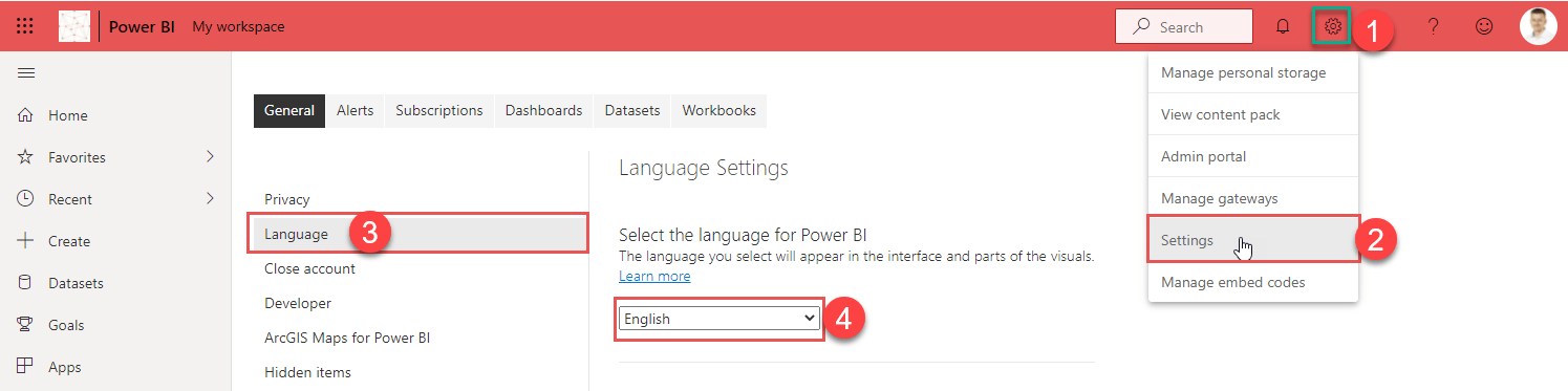 Switching languages in the Pwer BI service